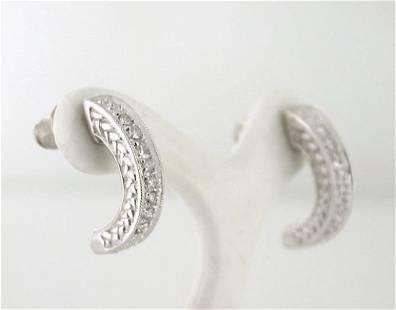 14K White Gold Diamond Engraved Half Hoop Earrings