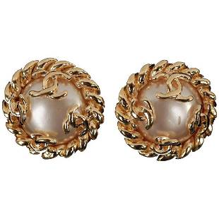 Chanel Gold Faux Pearls Twisted Rope Clip Earrings
