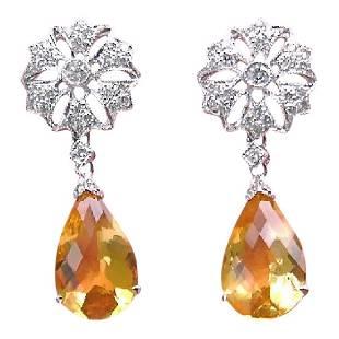 Antique Style 18K Gold Diamond Citrine Drop Earrings