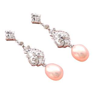 Antique Edwardian Style 18K Gold Diamond Pearl Earrings