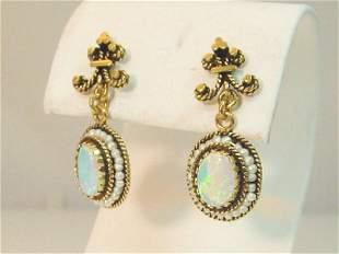 Vintage 14K Gold Dangling Oval Opal Seed Pearl Earrings