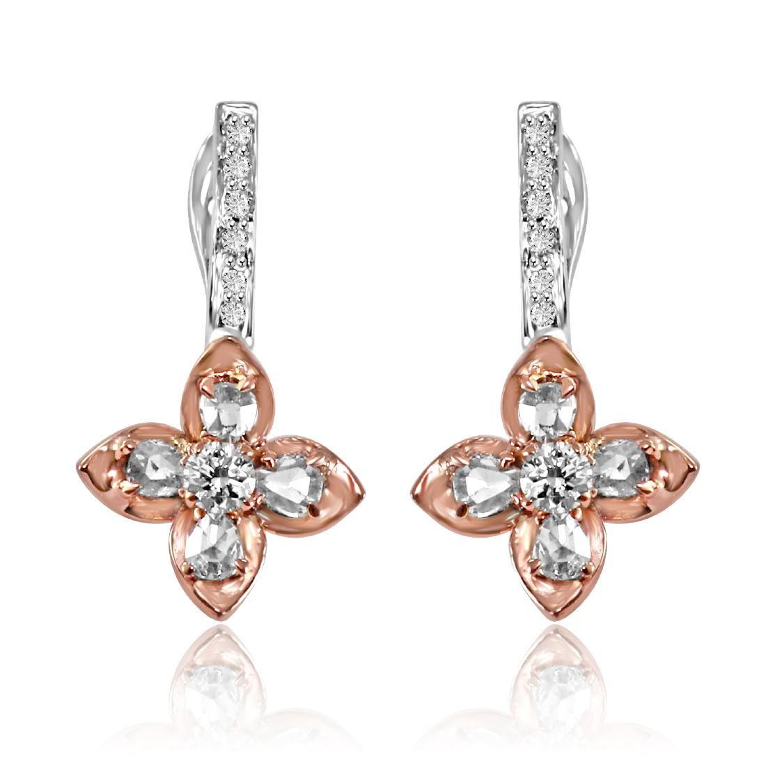 18K Gold Rosecut Diamond Floral Earrings