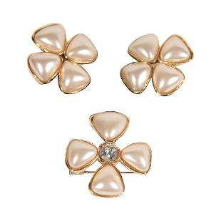 Chanel Gripoix Glass Pearls Crystal Earrings Brooch Set