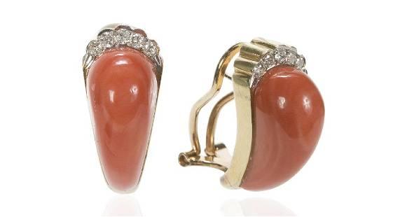 Vintage 14K Gold Coral Diamond Earrings