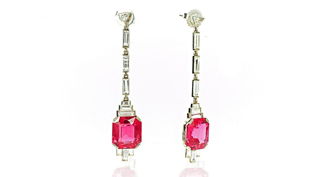 Vintage French Art Deco 18K Gold Pink Sapphire Earrings