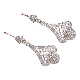 Antique Style Edwardian Platinum Diamond Dangle