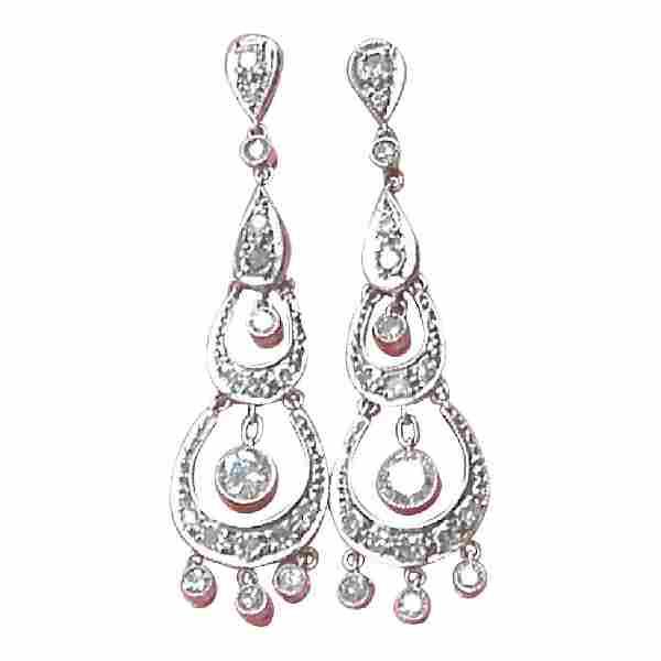 Estate Edwardian Platinum Diamond Chandelier Earrings