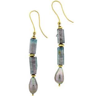 Atelier Zobel 18K Gold Tourmaline Pearl Earrings
