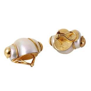 MAZ 14K Gold Madagascar Seashell Earrings