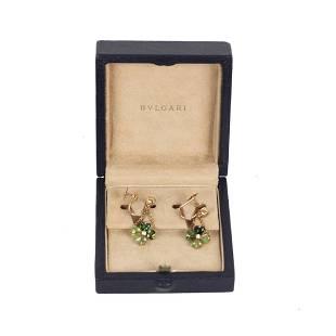 Bvlgari 18K Yellow Gold Clover Tourmaline Earrings
