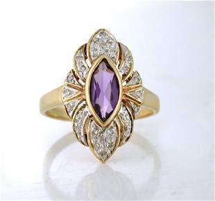 Vintage 10K Gold Amethyst Marquise Diamond Ring
