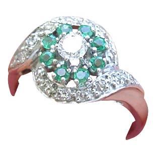 Vintage 14K Gold Diamond Emerald Cocktail Ring, 1950