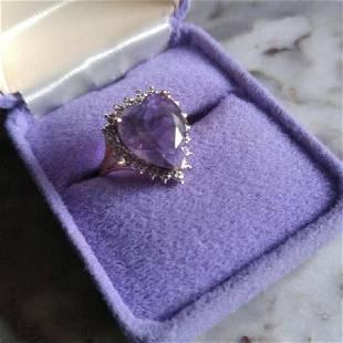 10K Gold Purple Heart Crystal Diamond Ring, 14.5 ctw