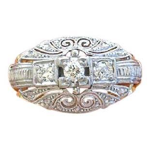 Antique Art Deco Mine Rose Diamond 3 Stone Ring, 1930