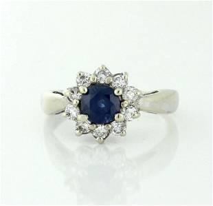 14K White Gold Sapphire Diamond Halo Ring