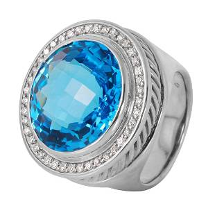 David Yurman Diamond Albion Blue Topaz Ring