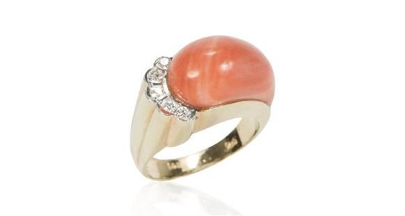 Vintage 14K Gold Freeform Coral Diamond Ring