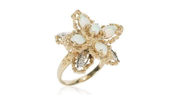 Vintage 14K Gold Opal Diamond Petal Ring