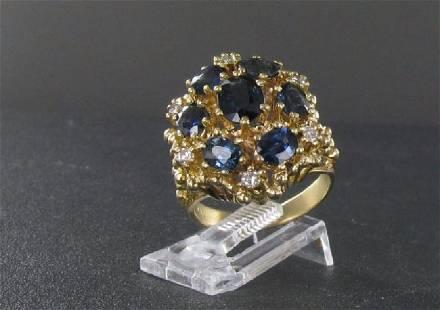 Vintage 14K Gold Diamond Blue Topaz Cocktail Ring