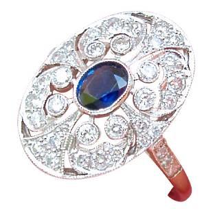Estate Edwardian Platinum Diamond Sapphire Oval Ring