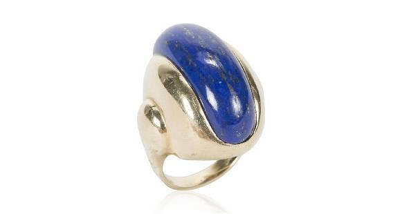 Retro Elongated 14K Gold Lapis Lazuli Ring