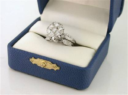 Vintage 14K White Gold Diamond Cluster Ring