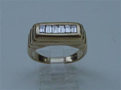 Piaget Style 14K Gold Men's Diamond Baguette Ring