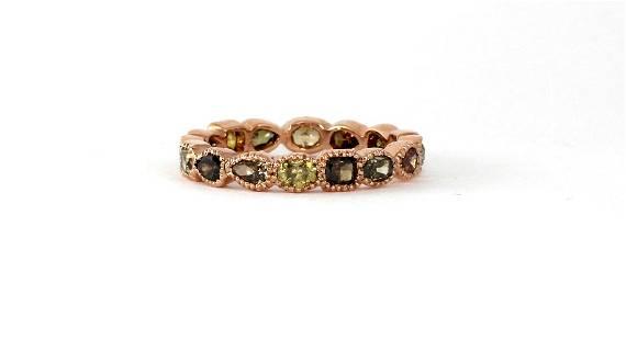 18K Gold Natural Multicolor Mix Shape Diamond Band Ring