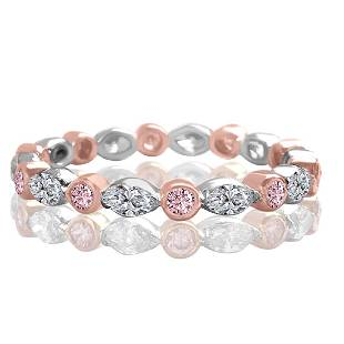 18K Gold Natural Pink Diamond Band Ring