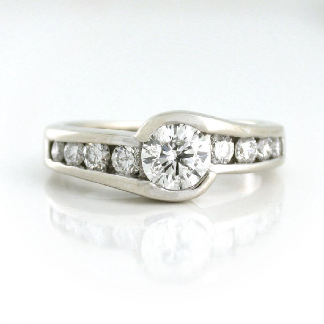 Vintage 14K White Gold Designer Bezel Set Diamond Ring