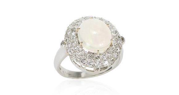 Vintage Platinum Opal Diamond Ring