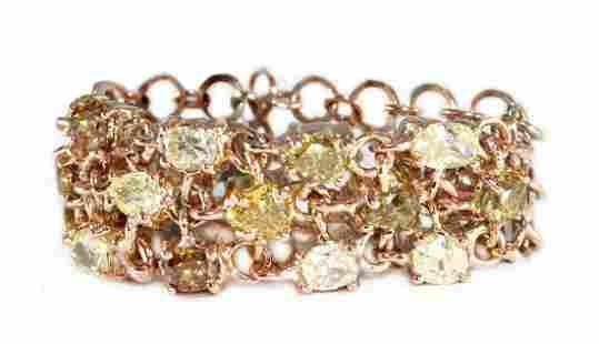 18K Gold Natural Multicolor Diamond Flexible Band Ring