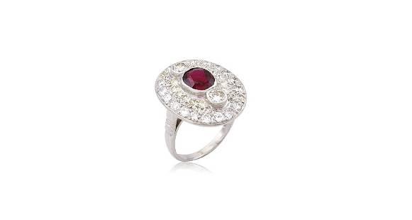 Art Deco Oval Platinum Ruby Diamond Cluster Ring