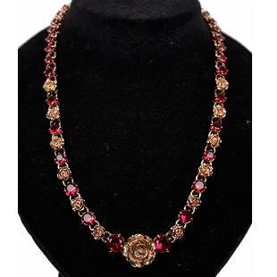 Prada Gold Metal Red Rhinestones Roses Necklace