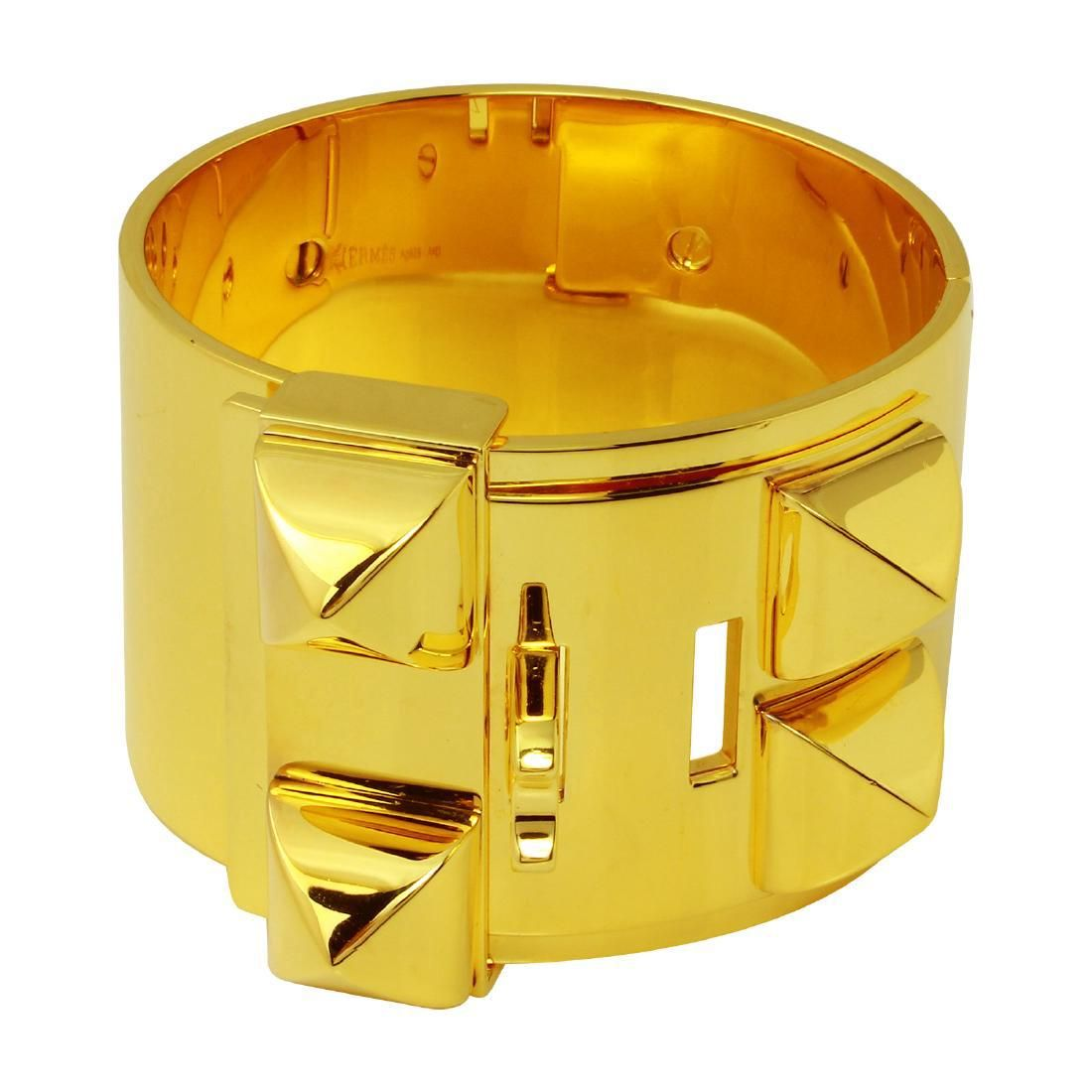 Hermes Sterling Silver Gold Collier de Chien Bracelet