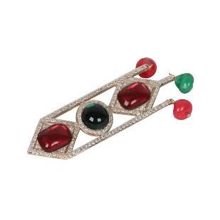 Vintage Valentino Crystal Red Green Stones Brooch