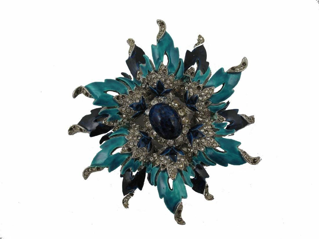 Vintage Kenneth Jay Lane Silver Enamel Pin Brooch