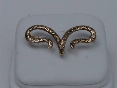 Vintage 14K Gold Victorian Design Pin