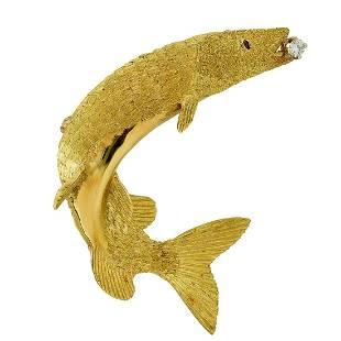 Tiffany & Co 18K Gold Ruby Diamond Fish Brooch