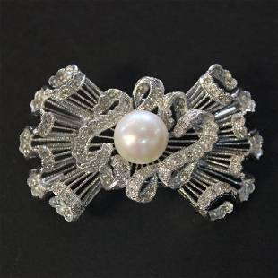 Vintage 18K White Gold Diamond Pearl Bow Brooch