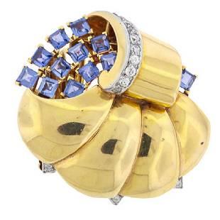 Trabert Hoeffer Mauboussin 14K Sapphire Diamond Brooch