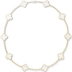 Van Cleef & Arpels 18K Gold 10 Motif Alhambra Necklace