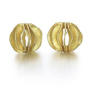 Barbara Heinrich 18K Gold Waveball Earrings