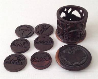 African Wood Coaster Ampoule & 6 Coasters