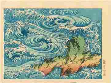 Katsushika Hokusai: Whirlpools at Awa