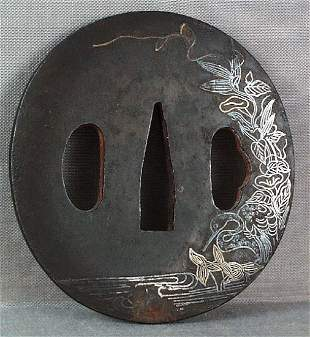 Japanese Sword Tsuba Heron by Stream