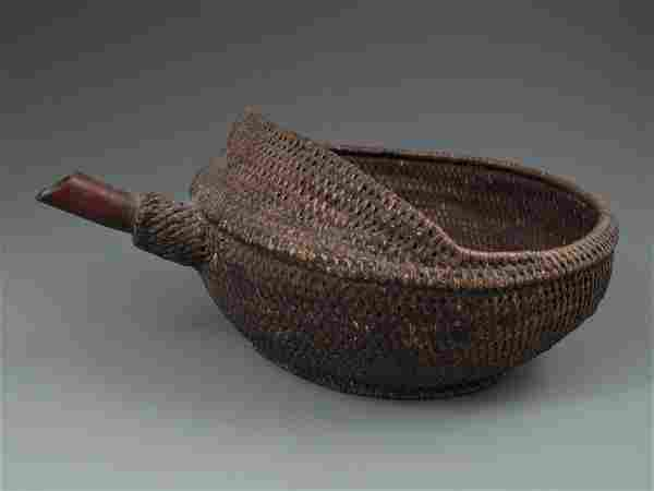 Chinese Miao Solid Woven Reed Bamboo Lacquered Vessel