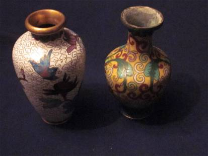 Two Vintage Chinese Brass Cloisonne Vases