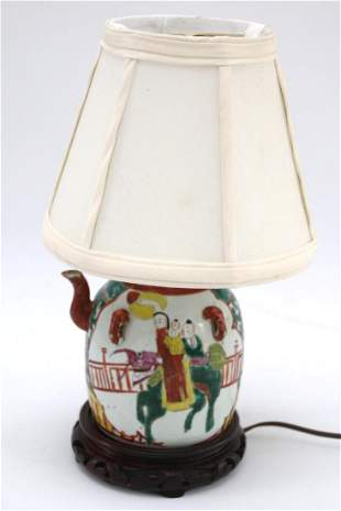 Late 19th Century Chinese Hand Painted Lamp