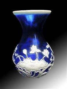 Chinese Blue White Peking Overlay Glass Vase
